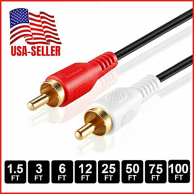 RCA Stereo Audio Cable Dual RCA Male Gold-Plated AV Cord FOR