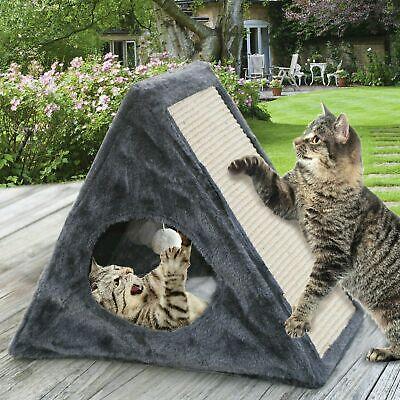 Cat Kitten Play House Pet Bed Scratcher Post Folds Condo Furniture Cube + Toy   Condo House Scratcher Pet Furniture