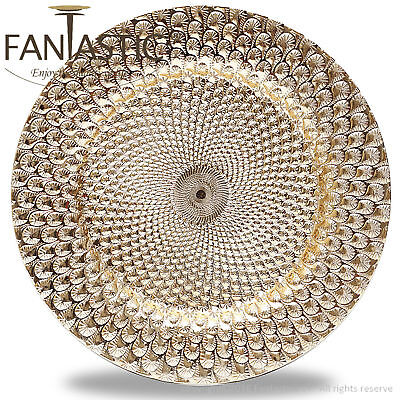 Fantastic:)™ Round 13Inch Charger Plate With Shiny Finish ( Peacock Pattern ) Round 13 Charger