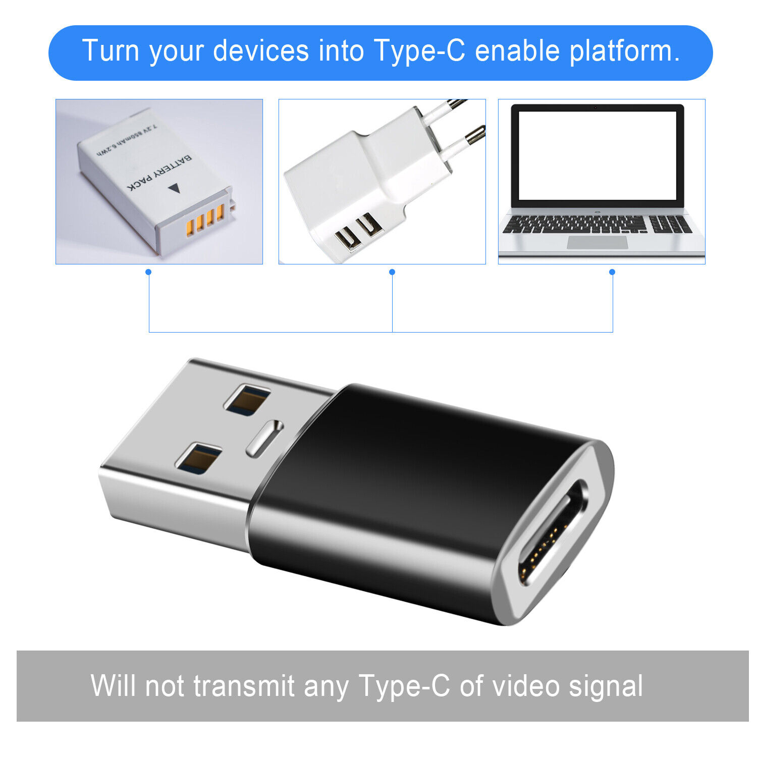 Type-C Female to USB-A Male Converter Adapter For iPhone 12 Pro Max,iPad,Samsung Cables & Adapters