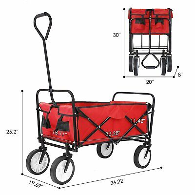Red Wagon Cart Beach Collapsible Folding Camping Trolley Garden Utility Cart (Foldable Utility Cart)
