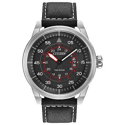 Citizen Eco-Drive Men's Avion Calendar Black Dial Leather 45mm Watch AW1361-01E