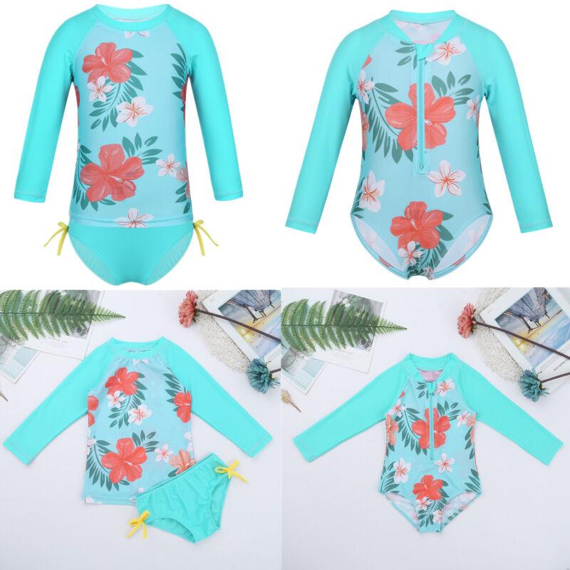Toddler Baby Boys Girls Two Piece Rash Guard Swimsuits Kids Short//Long Sleeve Sunsuit Swimwear Beach Wear Sets 6M-7T