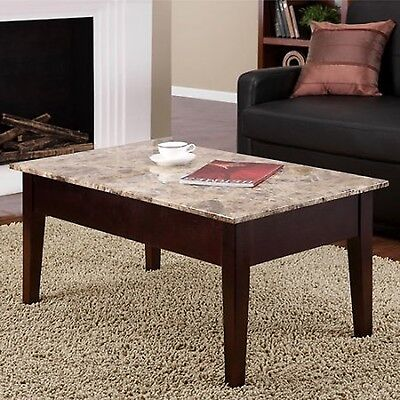 Coffee Table Faux Marble Lift Top Living Room Furniture Modern Wood Storage New