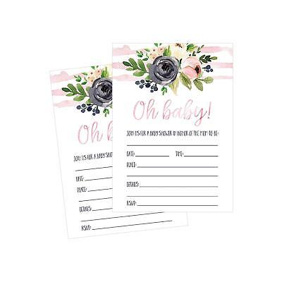 50 Fill In Cute Baby Shower Invitations Floral PINK GIRL Neutral Blank Invites - Girls In Shower