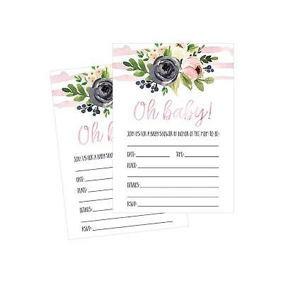 Blank Invitations - 50 Fill In Cute Baby Shower Invitations Floral PINK GIRL Neutral Blank Invites