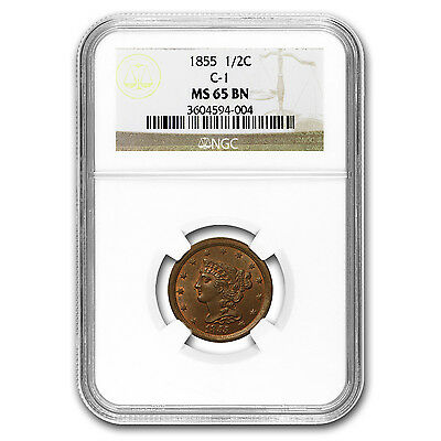 1855 Half Cent MS-65 NGC CAC (Brown) - SKU#153795