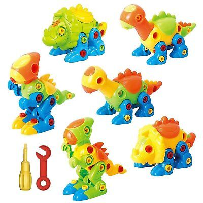 Dinosaur Toys Take Apart Toys With Tools (Pack of 6 Dinosaurs - 218 pieces) -