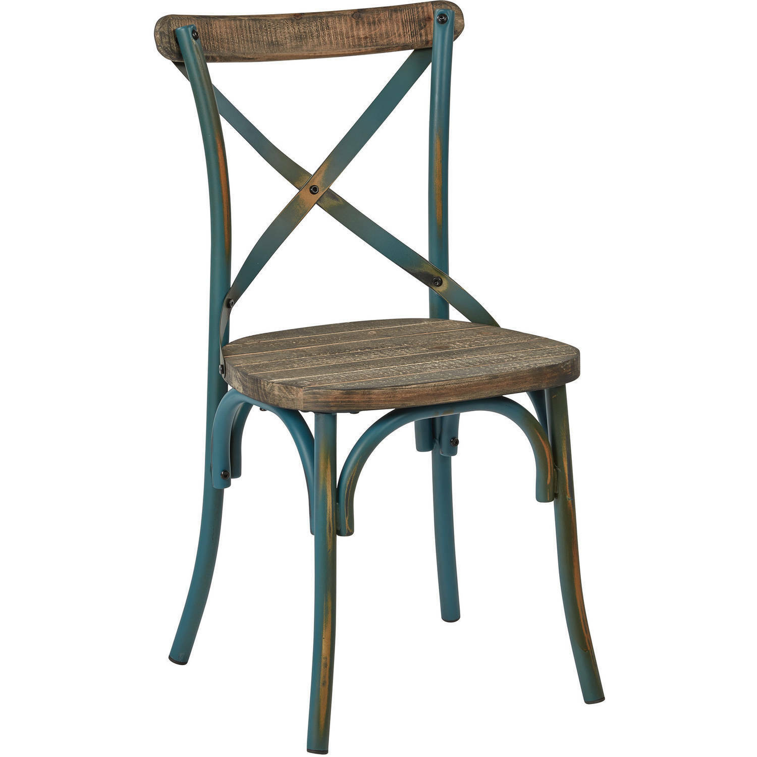 Rustic Crossback Dining Chair Distressed Industrial