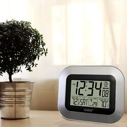 Digital Atomic Desk Clock Time Day Date Alarm In Out Temp Wireless Sensor Wall