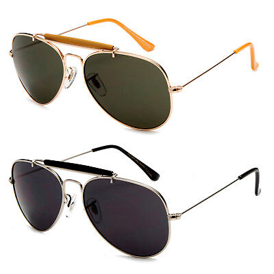 Brow Bar Sunglasses Aviator Pilot Top Gun Inspired Gold Black (Brow Bar Sunglasses)
