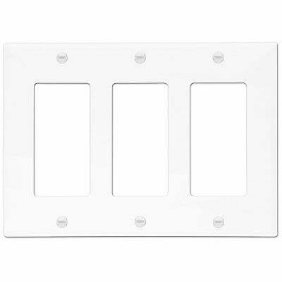 ENERLITES Decorator 3 Gang Outlet / Switch Cover Unbreakable Wall Plate White 3 Gang Switch Cover