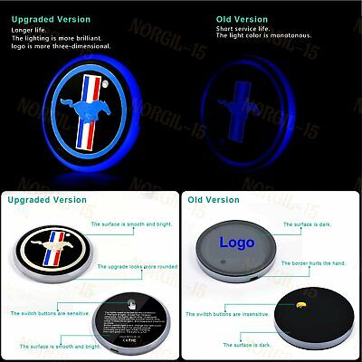 LED Car Cup Bottle Holder Pad Mat for Ford Mustang Auto Atmosphere Lights -