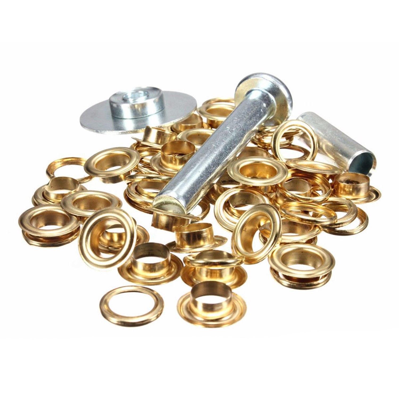 50 x 12.5mm oro Tenda Occhielli Grommet Punzone di Foro Tarp riparazione set