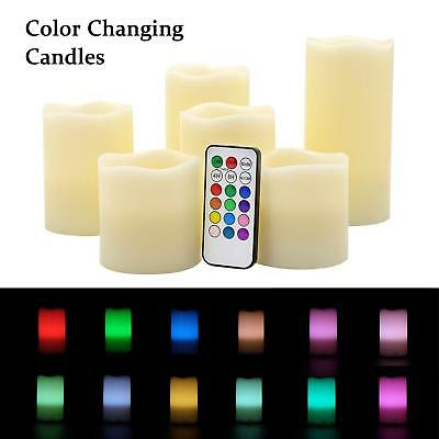 Flameless Color Changing Pillar Candles Multi Colors Real Wax Battery Operated
