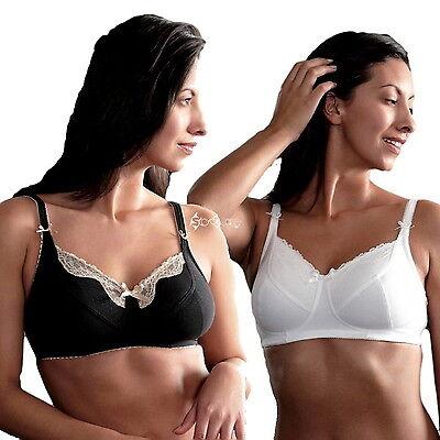 Ladies Royce Isabella Comfort Bra Wire Free Black / White 32 - 40 B C D E F FF G