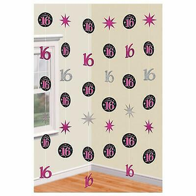 SWEET SIXTEEN Hanging Strings Party Room Decorations 16th Birthday Girl Decor 16](Sweet Sixteen Party)