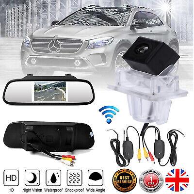 "Wireless Rear View Reverse Camera +4.3"" Mirror for Mercedes-Benz C E Class W204"