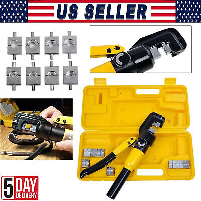10 Ton Hydraulic Wire Crimper 8 Dies Lug Cable Force Crimping Tool Kit 4-70mm Us