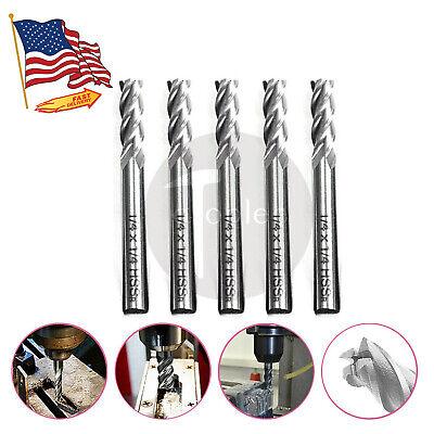 5pcs 14 Hss Straight Shank Spiral 4 Flute End Mill Cutter Cnc Drill Bit Tool