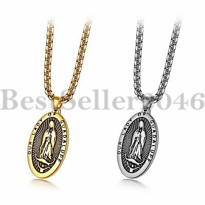 - Men Women Stainless Steel Our Lady of Guadalupe Virgin Mary Oval Medal Necklace