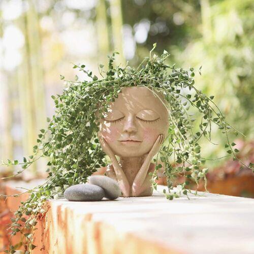 Face Flower Pot Head Planter Pot Succulent Planter Cute Resin Cactus Planter wit