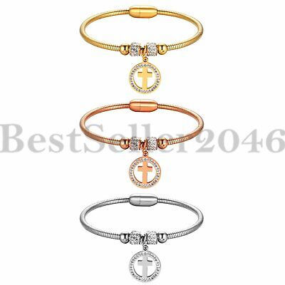 Women Girls Snake Chain Crystal Charm Cross Magnetic Stainless Steel Bracelet](Girls Charm Bracelets)