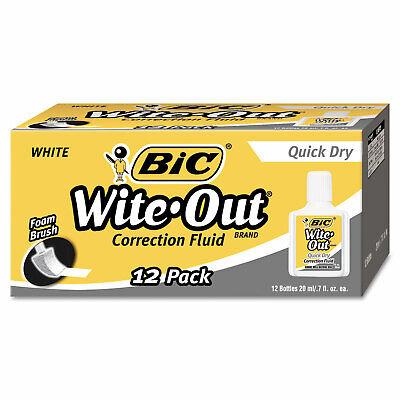 Bic Wite-out Quick Dry Correction Fluid 20 Ml Bottle White 1dozen Wofqd12we