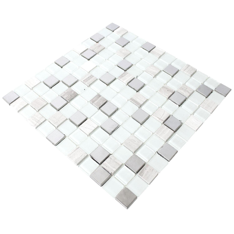 selbstklebende metall stein glas mosaik fliesen weiss. Black Bedroom Furniture Sets. Home Design Ideas