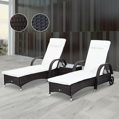 Garden Furniture - 3pc Rattan Sun Lounger Wicker Day Bed Table Reclining Garden Patio Furniture