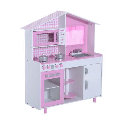 HOMCOM Cocina de Juguete Cocinita Infantil Madera Grande Juego de Imitación para