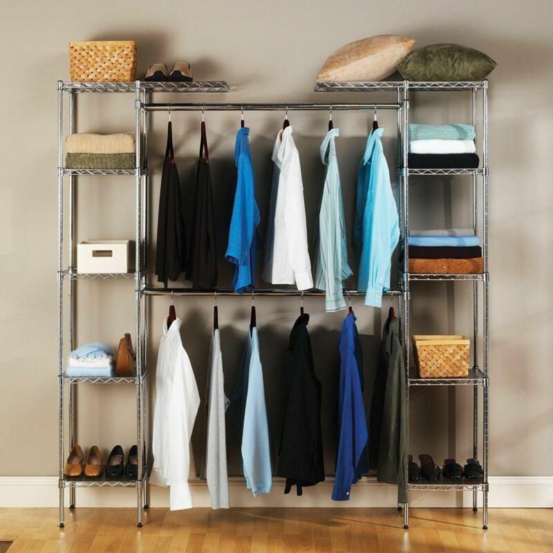 Custom Closet Organizer Shelves System Kit Expandable Clothes Storage Metal Rack