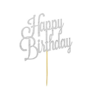 Muffin Topper (Torten Kuchen Muffin Topper Aufsatz Happy Birthday Geburtstag Deko - Silber)