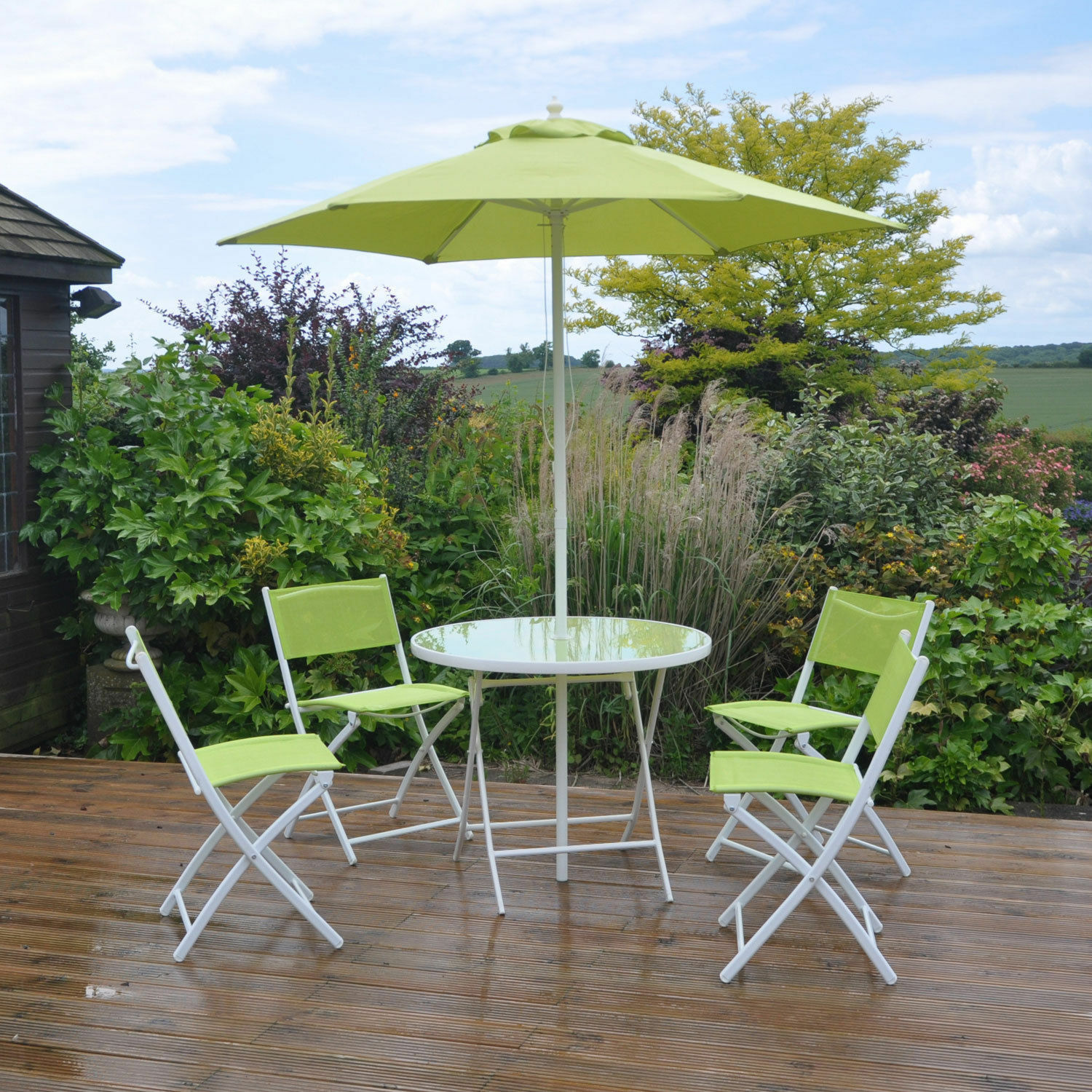 6pc lime green garden patio furniture set dining set