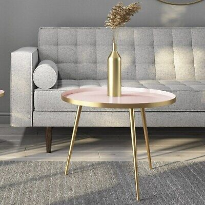 Gold & Pink Round Coffee Table - Kaisa KAS005