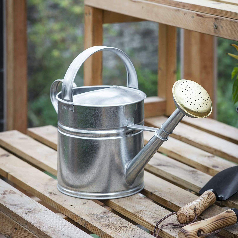5 litre silver galvanised steel metal outdoor