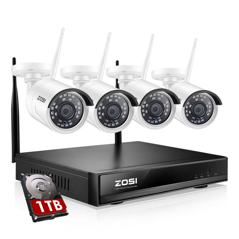 ZOSI HD 1080p Wireless Security Camera System 8 CH WIFI NVR with Hard Drive 1TB