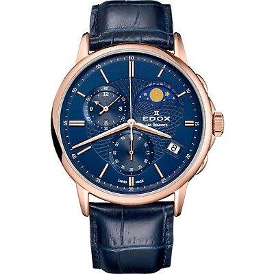 NEW Edox Les Bemonts Men's Moon-Phase-Calendar Watch - 01651-37R-BUIR