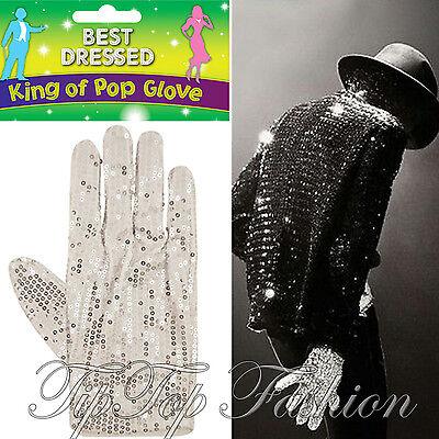 Michael Jackson Handschuh Kostüme (NEU Kostüm Michael Jackson silber Paillette Weiß Glove Billy Jeans König des Pop)