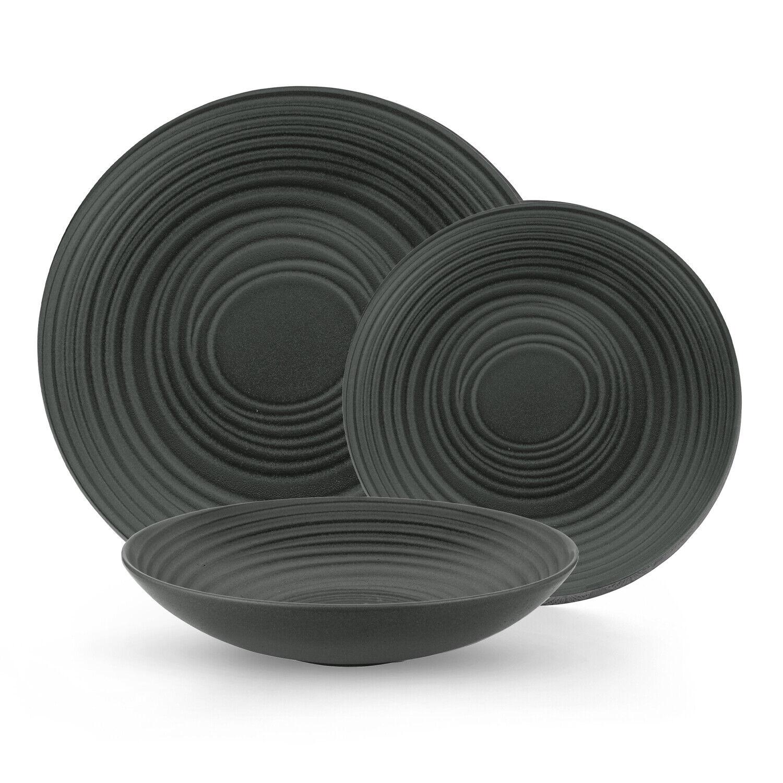Black Grain Round Stoneware Dinnerware Set Service for 4, 12