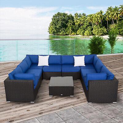 Kinbor 9 Piece 2-9 Piece Patio PE Rattan Wicker Sofa Sectional Furniture Set ()
