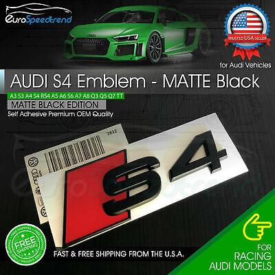Audi S4 Emblem Matte Black 3D Rear Trunk Lid Badge OEM S Line Logo Nameplate A4