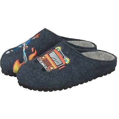 Supersoft Jungen 542-180 Schuhe Pantoffeln Hausschuhe Feuerwehr 834 Dunkelblau