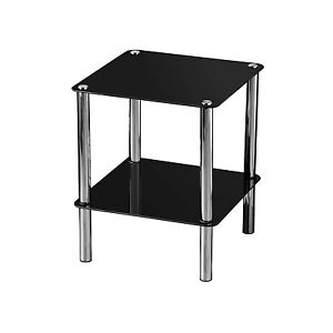 New Small 2 Tier Black Glass Shelf Square End Side Table