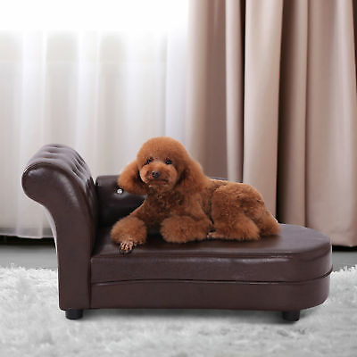 Pawhut PVC Dog Cat Puppy Kitty Couch Leather Bed Luxury Pet Sofa Chaise Lounger
