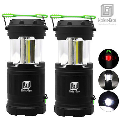 2 Pack Ultra Bright Collapsible LED Camping Lantern Cob Flashlights Waterproof