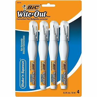 Bic Wite Out Shake N Squeeze Correction Pen 8 Ml White 4 Pack Wosqpp418