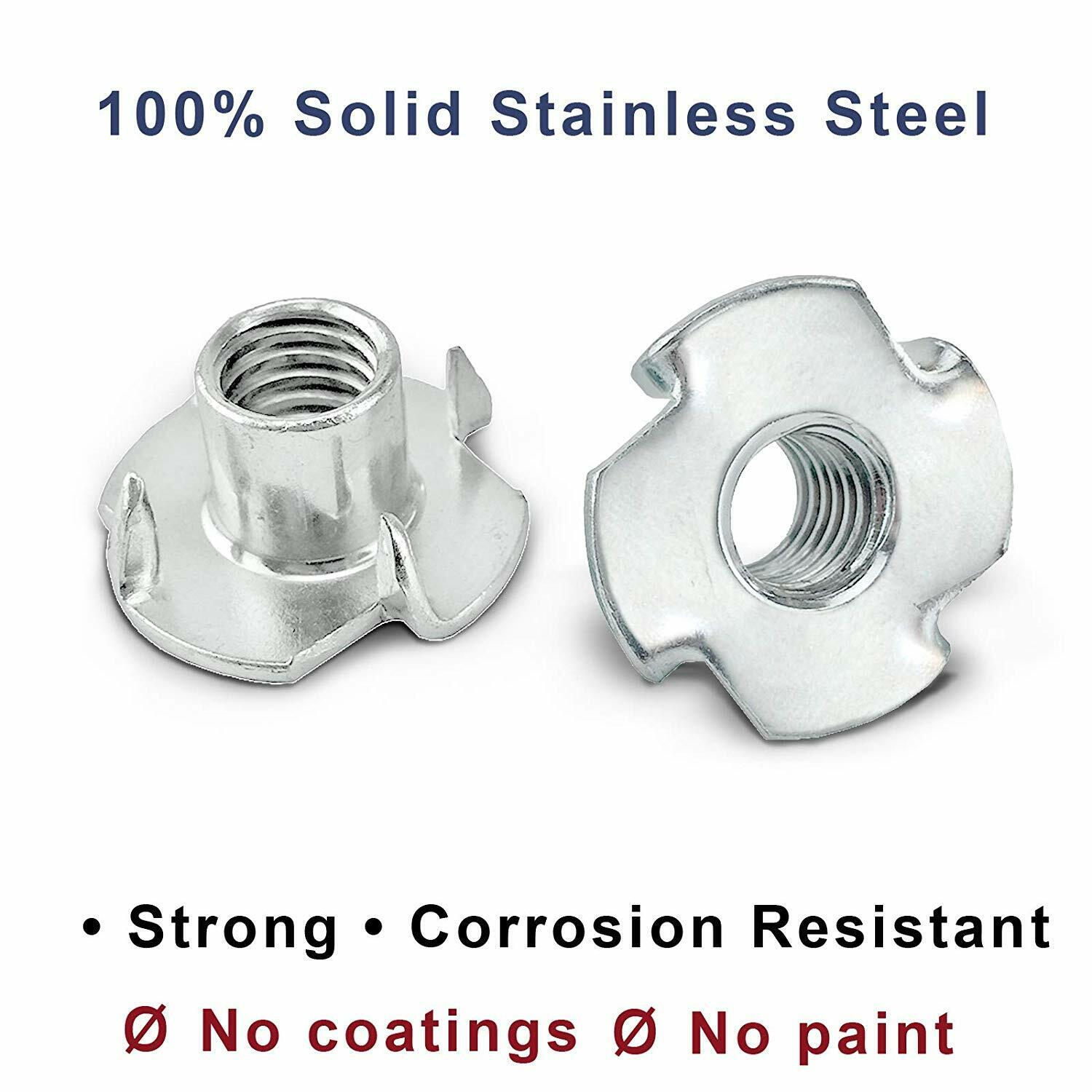 25//PCS T-Nuts 18-8 Stainless Steel 1//4-20 x 5//16 Barrel Lgth x 4-Prong