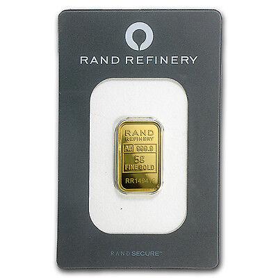 5 gram Gold Bar - Rand Refinery - Mirage (In Assay) - SKU #91451