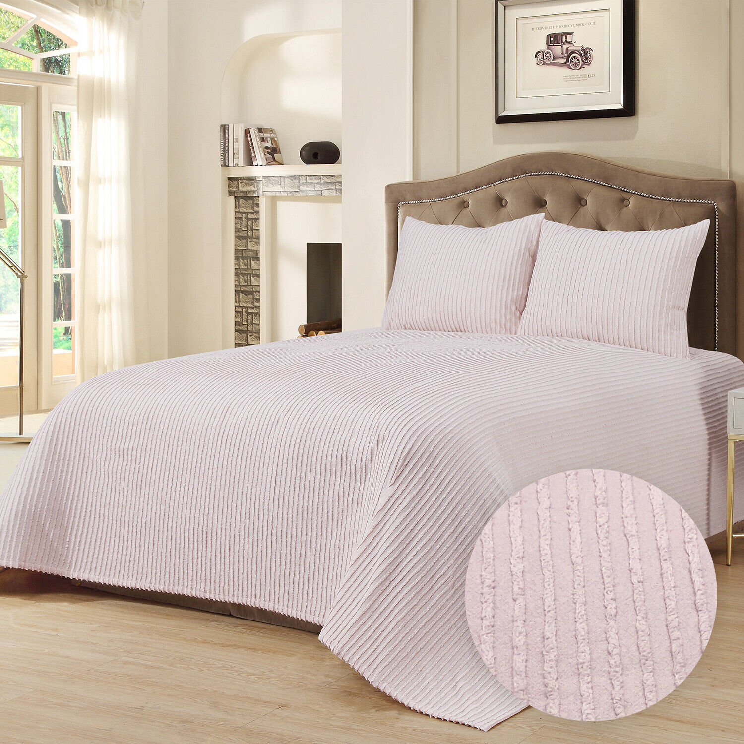100% Cotton Tufted Chenille Stripe Bedspread Bedding Twin Full Queen King, Blush Bedding